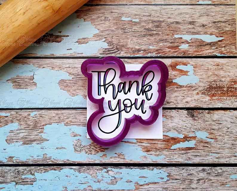 Thank You Hand Lettered Cookie Cutter and Fondant Cutter and Clay Cutter with Optional Stencil,                       letter cookie cutters, cursive letter cookie stamp, cursive letter fondant cutters, fancy letter cookie cutters, large letter cookie cutters, letter shaped cookie cutters, feminist cookie cutters, love cookie cutter, sunflower cookie cutter michaels, triceratops cookie cutter, spring loaded cookie cutters, metal cookie cutters walmart, voodoo cookie cutter, harry potter cookie set,