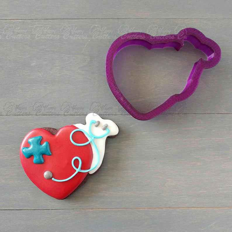 Stethoscope with heart Cookie Cutter and Fondant Cutter and Clay Cutter,                       heart cookie cutter, heart shaped cookie cutter, heart cutter, heart shape cutter, mini heart cookie cutter, love heart cookie cutter, wild one cookie cutters, bear cookie cutter, amazon biscuit cutter, cookie cutter kids, large cookie cutters amazon, custom cookie cutters etsy, jesus cookie cutter, bee cookie cutter,