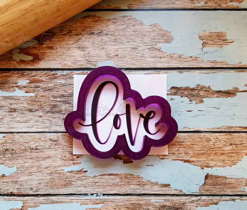 Love in Lower Case Hand Lettered Cookie Cutter and Fondant Cutter and Clay Cutter with Optional Stencil,                       letter cookie cutters, cursive letter cookie stamp, cursive letter fondant cutters, fancy letter cookie cutters, large letter cookie cutters, letter shaped cookie cutters, rat cookie cutter, superhero cookie cutter, cookie cutter bath bombs, embossed cookie cutters, ateco cookie cutters, pirate ship cookie cutter, clover cookie cutter, rolling stones cookie cutter,