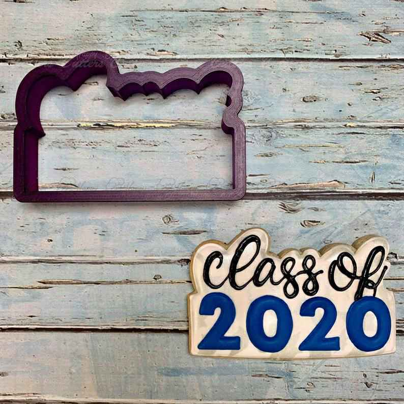 Class of or Graduation Year Cookie Cutter and Fondant Cutter and Clay Cutter with Optional Stencil,                       letter cookie cutters, cursive letter cookie stamp, cursive letter fondant cutters, fancy letter cookie cutters, large letter cookie cutters, letter shaped cookie cutters, stamp cutters, wedding ring cookie cutter, christmas light bulb cookie cutter, snail cookie cutter, beer bottle cookie cutter, moose head cookie cutter, mini dog bone cookie cutter, ffa cookie cutter,