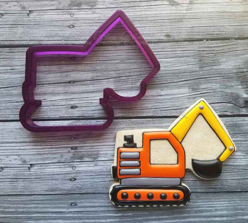 Excavator Truck Cookie Cutter and Fondant Cutter and Clay Cutter,                       construction cookie cutters, construction truck cookie cutters, bulldozer cookie cutter, construction vehicle cookie cutters, hammer cookie cutter, tow truck cookie cutter, 5 inch round cookie cutter, minnie cookie cutter, easter biscuit cutters, star pastry cutters, toothbrush cookie cutter, lakeland dinosaur cookie cutters, john deere cookie cutter, feet cookie cutter,