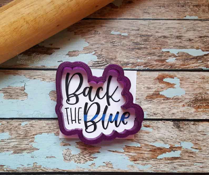 Back the Blue Lettered Cookie Cutter and Fondant Cutter and Clay Cutter with Optional Stencil,                       letter cookie cutters, cursive letter cookie stamp, cursive letter fondant cutters, fancy letter cookie cutters, large letter cookie cutters, letter shaped cookie cutters, puzzle piece cookie cutter, wonder woman fondant cutter, embossed cookie cutters, fattigmann cutter, tangled cookie cutters, cursive letter cookie stamp, truck with tree cookie cutter, wrestling cookie cutter,