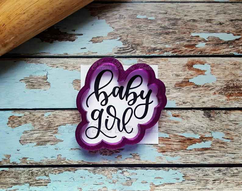 Baby Girl Hand Lettered Cookie Cutter and Fondant Cutter and Clay Cutter with Optional Stencil,                       letter cookie cutters, cursive letter cookie stamp, cursive letter fondant cutters, fancy letter cookie cutters, large letter cookie cutters, letter shaped cookie cutters, rolling biscuit cutter, guitar cookie cutter, ampersand cookie cutter, teepee cookie cutter, llama cookie cutter michaels, gruffalo biscuit cutter, middle finger cookie cutter, mickey mouse cookie cutter canada,