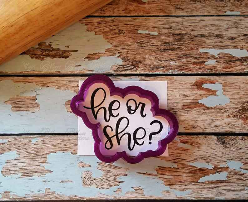 He or She? Hand Lettered Cookie Cutter and Fondant Cutter and Clay Cutter with Optional Stencil,                       letter cookie cutters, cursive letter cookie stamp, cursive letter fondant cutters, fancy letter cookie cutters, large letter cookie cutters, letter shaped cookie cutters, kangaroo cookie cutter, plastic biscuit cutters, palm tree cookie cutter, small circle cookie cutter, fondant letter cutters kmart, round fondant cutters, flame cookie cutter, teddy bear face cookie cutter,
