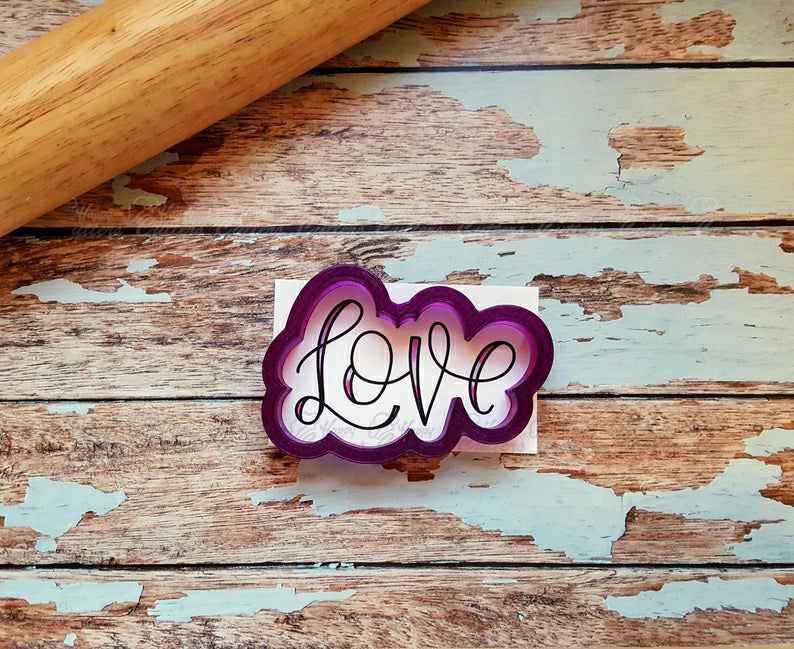 Love in Upper Case Hand Lettered Cookie Cutter and Fondant Cutter and Clay Cutter with Optional Stencil,                       letter cookie cutters, cursive letter cookie stamp, cursive letter fondant cutters, fancy letter cookie cutters, large letter cookie cutters, letter shaped cookie cutters, large dinosaur cookie cutters, ateco round cutters, 100 piece cookie cutter set, kaleidacuts baby, anatomical cookie cutter, animal cookie cutters walmart, runner cookie cutter, foot shaped cookie cutter,