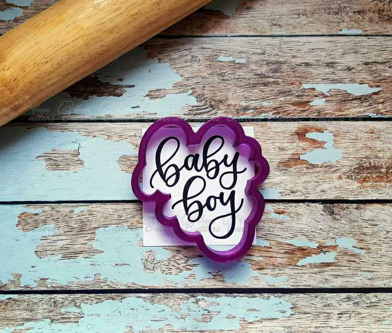 Baby Boy Hand Lettered Cookie Cutter and Fondant Cutter and Clay Cutter with Optional Stencil,                       letter cookie cutters, cursive letter cookie stamp, cursive letter fondant cutters, fancy letter cookie cutters, large letter cookie cutters, letter shaped cookie cutters, pastry cutter shapes, bitten cookie cutter, leaf cookie cutter michaels, baby jesus cookie cutter, jokumo, personalised biscuit stamp, unicorn cookie cutter, cow skull cookie cutter,