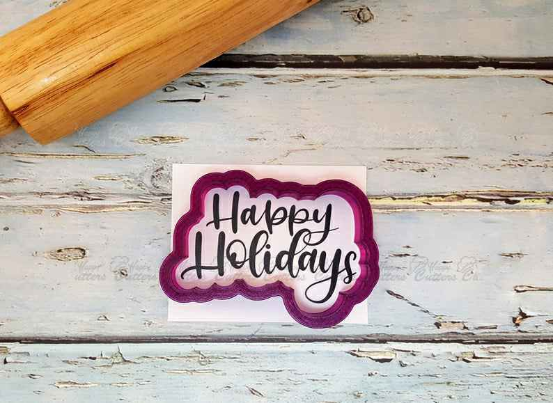 Happy Holidays Hand Lettered Cookie Cutter and Fondant Cutter and Clay Cutter with Optional Stencil,                       letter cookie cutters, cursive letter cookie stamp, cursive letter fondant cutters, fancy letter cookie cutters, large letter cookie cutters, letter shaped cookie cutters, dog cookie cutters walmart, beer glass cookie cutter, turkey shaped cookie cutter, tiny star cookie cutter, dna cookie cutter, nesting cookie cutters, pirate cookie cutter, turtle cookie cutter,
