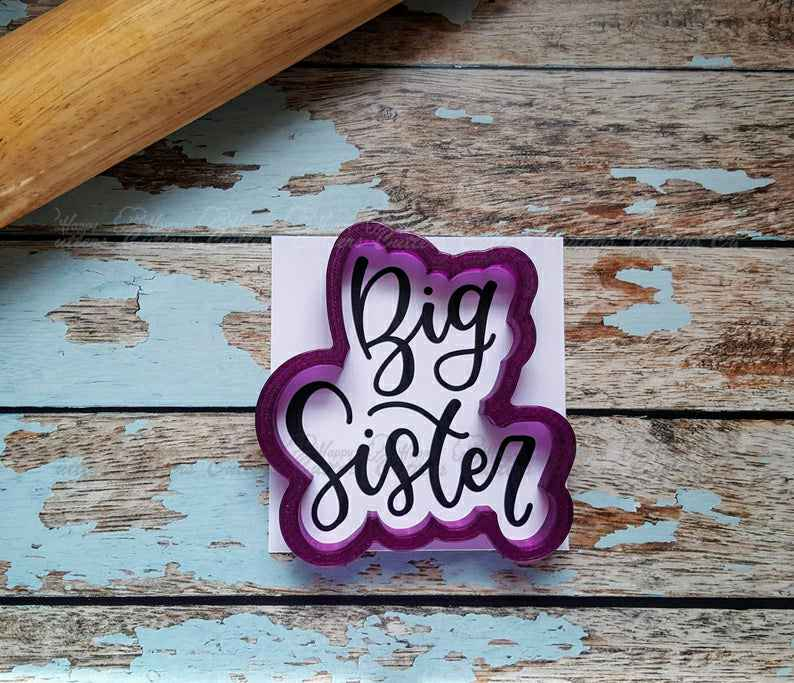 Big Sister Hand Lettered Cookie Cutter and Fondant Cutter and Clay Cutter with Optional Stencil,                       letter cookie cutters, cursive letter cookie stamp, cursive letter fondant cutters, fancy letter cookie cutters, large letter cookie cutters, letter shaped cookie cutters, cupcake cookie cutter, small cookie cutters, pineapple cookie cutter, cookie cutters ireland, mini bone cookie cutter, golden girls cookie cutters, easter cookie stamps, plunger cookie cutters,