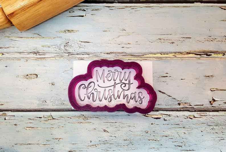 Merry Christmas #2 Hand Lettered Cookie Cutter and Fondant Cutter and Clay Cutter with Optional Stencil,                       letter cookie cutters, cursive letter cookie stamp, cursive letter fondant cutters, fancy letter cookie cutters, large letter cookie cutters, letter shaped cookie cutters, wildlife cookie cutters, fluted biscuit cutter, cookies and cutters, hobby lobby cookie cutter, large gingerbread man cutter, new cookie cutters, poodle cookie cutter, irish cookie cutters,