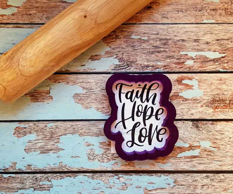 Faith Hope Love Hand Lettered Cookie Cutter and Fondant Cutter and Clay Cutter with Optional Stencil,                       letter cookie cutters, cursive letter cookie stamp, cursive letter fondant cutters, fancy letter cookie cutters, large letter cookie cutters, letter shaped cookie cutters, baby cookie cutters michaels, hand shaped cookie cutter, geometric cookie cutters, sandwich cutters for kids, stocking cookie cutter, bus cookie cutter, fox cookie cutter, flag cookie cutter,