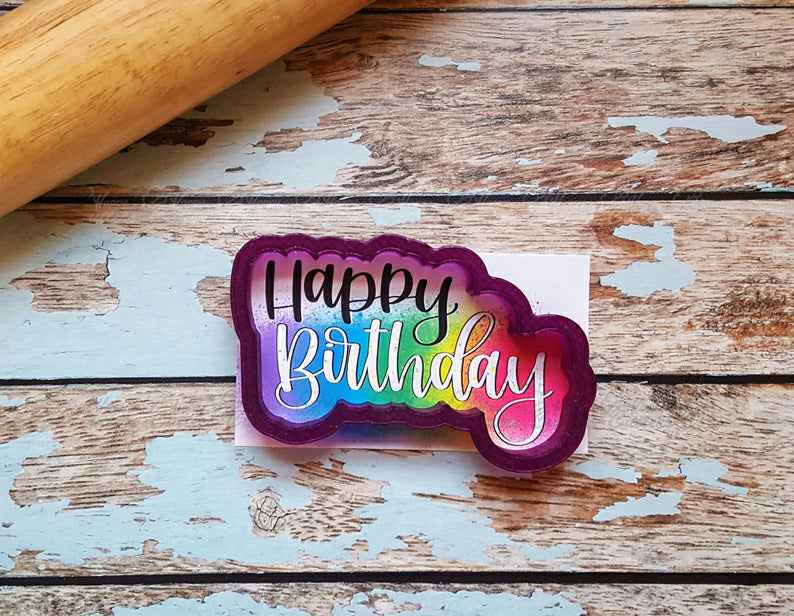 Happy Birthday Lettered Cookie Cutter and Fondant Cutter and Clay Cutter with Optional Stencil,                       birthday cookie cutters, happy birthday cookie cutter, birthday cake cookie cutter, happy birthday cookie stamp, baby shower cookie cutters, bridal shower cookie cutters, twelve days of christmas cookie cutters, classic car cookie cutters, air force cookie cutter, snowflake cookie cutter, bee cookie cutter michaels, camera cookie cutter, train shaped cookie cutter, dinosaur shaped cookie cutters,