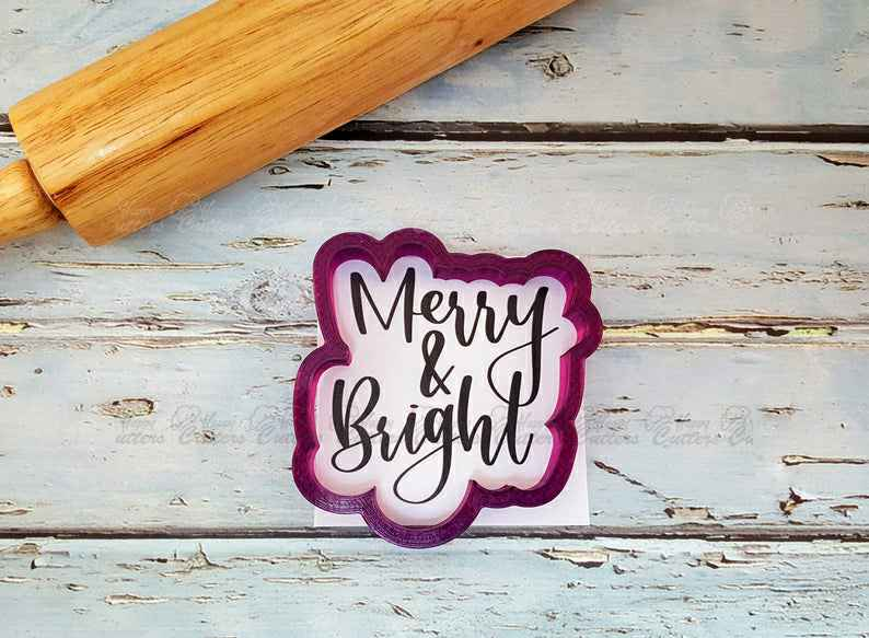 Merry & Bright Hand Lettered Cookie Cutter and Fondant Cutter and Clay Cutter with Optional Stencil,                       letter cookie cutters, cursive letter cookie stamp, cursive letter fondant cutters, fancy letter cookie cutters, large letter cookie cutters, letter shaped cookie cutters, round biscuit cutter, 3d gingerbread house cookie cutter, star cookie cutter walmart, minnie mouse bow cookie cutter, lakeland snowflake cutters, stethoscope cookie cutter, bluey cookie cutter, lv cookie cutter,