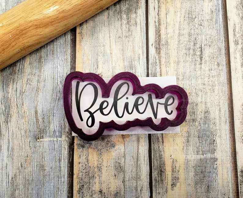 Believe Hand Lettered Cookie Cutter and Fondant Cutter and Clay Cutter with Optional Stencil,                       letter cookie cutters, cursive letter cookie stamp, cursive letter fondant cutters, fancy letter cookie cutters, large letter cookie cutters, letter shaped cookie cutters, unicorn cookie cutter target, princess dress cookie cutter, mickey mouse clubhouse cookie cutters, toy story fondant cutters, teepee cookie cutter, creative cookie cutters, care bear cookie cutter, train cookie cutter,