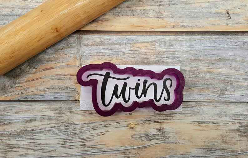 Twins Hand Lettered Cookie Cutter and Fondant Cutter and Clay Cutter with Optional Stencil,                       letter cookie cutters, cursive letter cookie stamp, cursive letter fondant cutters, fancy letter cookie cutters, large letter cookie cutters, letter shaped cookie cutters, penguin cookie cutter, b cookie cutter, ninja cookie cutters, pizza slice cookie cutter, etsy cookie stamp, bowling pin cookie cutter, mickey mouse cake cutter, jack o lantern cookie cutter,