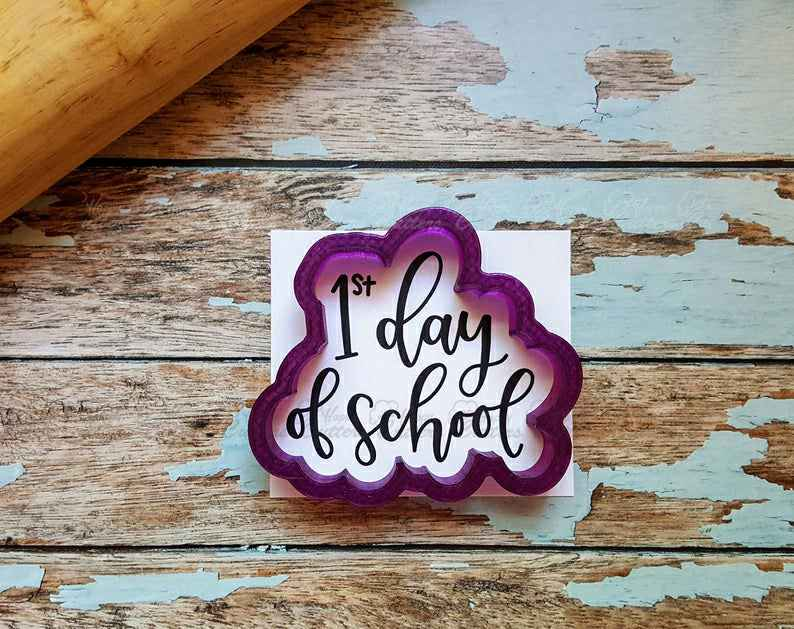 1st Day of School or First Day of School Hand Lettered Cookie Cutter and Fondant Cutter and Clay Cutter with Optional Stencil,                       letter cookie cutters, cursive letter cookie stamp, cursive letter fondant cutters, fancy letter cookie cutters, large letter cookie cutters, letter shaped cookie cutters, winter hat cookie cutter, meri meri sausage dog cookie cutter, fortnite cookie cutter, breast cancer ribbon cookie cutter, hockey cookie cutters, monkey cutter, cooky cutter, bear cookie cutter,