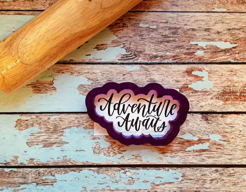 Adventure Awaits Hand Lettered Cookie Cutter and Fondant Cutter and Clay Cutter with Optional Stencil,                       letter cookie cutters, cursive letter cookie stamp, cursive letter fondant cutters, fancy letter cookie cutters, large letter cookie cutters, letter shaped cookie cutters, wilton cookie set, ice cream truck cookie cutter, wedding cookie stamp, graduation cookie cutters, beagle cookie cutter, cowboy hat cookie cutter, farm animal cookie cutters, multi cookie cutter,