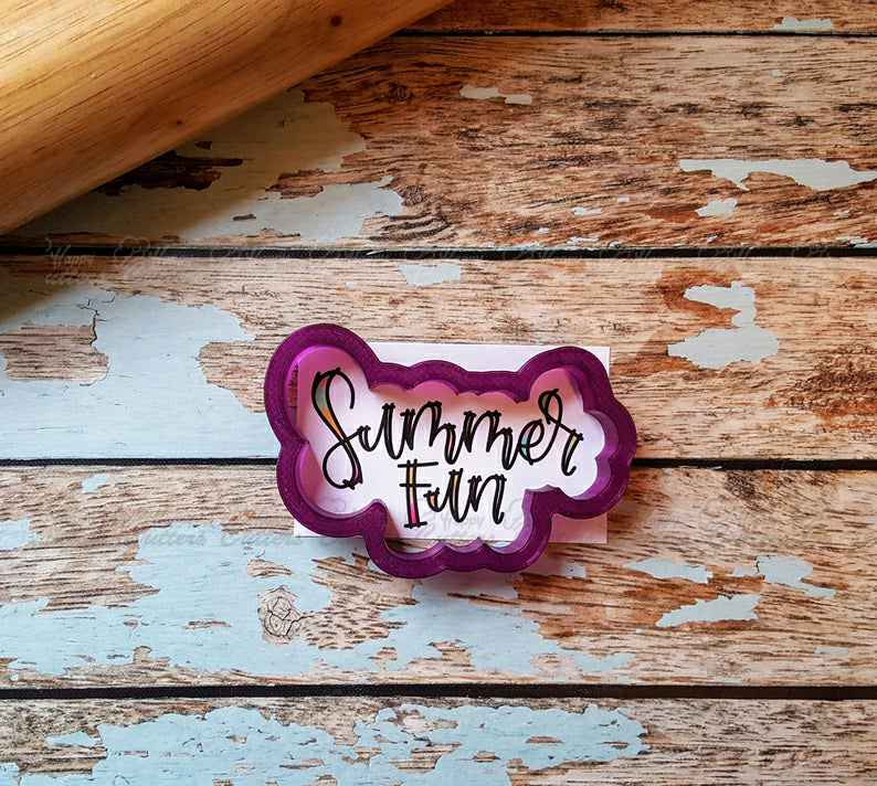 Summer Fun Hand Lettered Cookie Cutter and Fondant Cutter and Clay Cutter with Optional Stencil,                       letter cookie cutters, cursive letter cookie stamp, cursive letter fondant cutters, fancy letter cookie cutters, large letter cookie cutters, letter shaped cookie cutters, old river road copper cookie cutters, j cookie cutter, cookie cutter shop near me, suitcase cookie cutter, 6 inch cake cutter, sweet sugarbelle unicorn, large flamingo cookie cutter, rubik's cube cookie cutter,