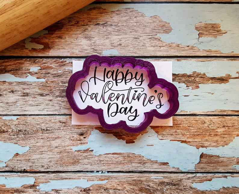 Happy Valentine's Day Hand Lettered Cookie Cutter and Fondant Cutter and Clay Cutter with Optional Stencil,                       letter cookie cutters, cursive letter cookie stamp, cursive letter fondant cutters, fancy letter cookie cutters, large letter cookie cutters, letter shaped cookie cutters, feet cookie cutter, the fussy pup cookie cutters, lakeland snowflake cutters, fruit cutter shapes, bride and groom cookie cutters, r&m cookie cutters, zoo cookie cutters, thumbprint cookie cutter,