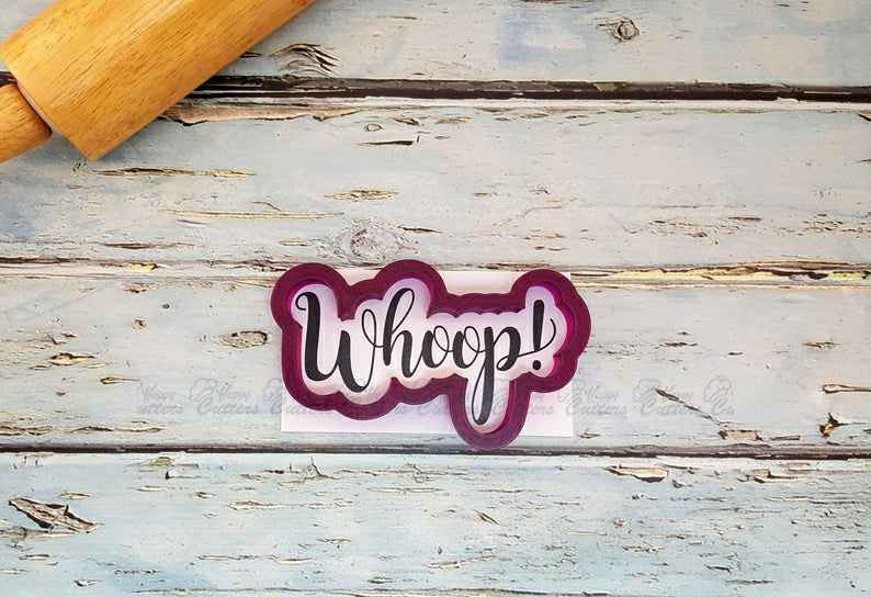 Whoop Hand Lettered  Cookie Cutter and Fondant Cutter and Clay Cutter with Optional Stencil,                       letter cookie cutters, cursive letter cookie stamp, cursive letter fondant cutters, fancy letter cookie cutters, large letter cookie cutters, letter shaped cookie cutters, necktie cookie cutter, star cookie cutter set, rabbit cutters, old fashioned cookie cutters, hockey cookie cutters, eyelash cookie cutter, chevy cookie cutter, paw patrol logo cutter,