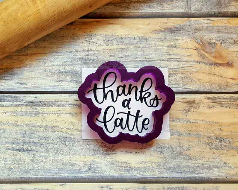 Thanks A Latte Hand Lettered Cookie Cutter and Fondant Cutter and Clay Cutter with Optional Stencil,                       letter cookie cutters, cursive letter cookie stamp, cursive letter fondant cutters, fancy letter cookie cutters, large letter cookie cutters, letter shaped cookie cutters, gingerbread man cookie cutter kmart, meri meri sausage dog cookie cutter, shortbread cookie stamp, 5 inch round cookie cutter, mini cookie cutters hobby lobby, fish cookie cutter michaels, ctr cookie cutter, sweet sugarbelle alphabet cookie cutters,
