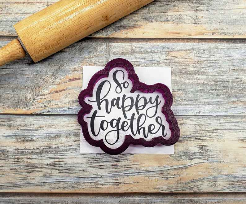 So Happy Together Hand Lettered Cookie Cutter and Fondant Cutter and Clay Cutter with Optional Stencil,                       letter cookie cutters, cursive letter cookie stamp, cursive letter fondant cutters, fancy letter cookie cutters, large letter cookie cutters, letter shaped cookie cutters, cracker cutter, 4th of july cookie cutters, bendy cookie cutter, dog biscuit cutters, sailor moon cookie cutter, large sunflower cookie cutter, small flower cookie cutter, pokemon cutter,