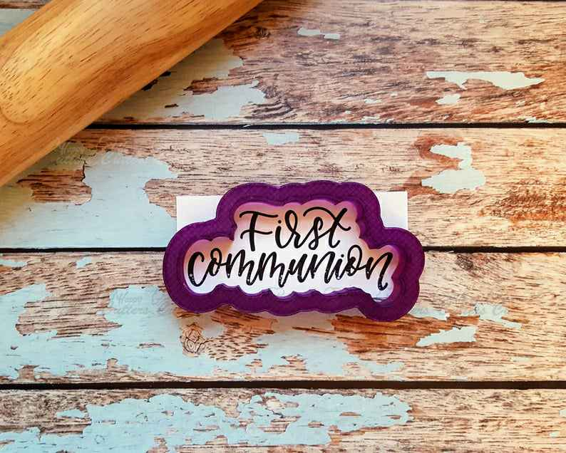 First Communion Hand Lettered Cookie Cutter and Fondant Cutter and Clay Cutter with Optional Stencil,                       letter cookie cutters, cursive letter cookie stamp, cursive letter fondant cutters, fancy letter cookie cutters, large letter cookie cutters, letter shaped cookie cutters, lion head cookie cutter, star cookie cutter walmart, fire hydrant cookie cutter, watering can cookie cutter, ship cookie cutter, wedding bell cookie cutter, foose cookie cutters, harry potter cookie cutters,