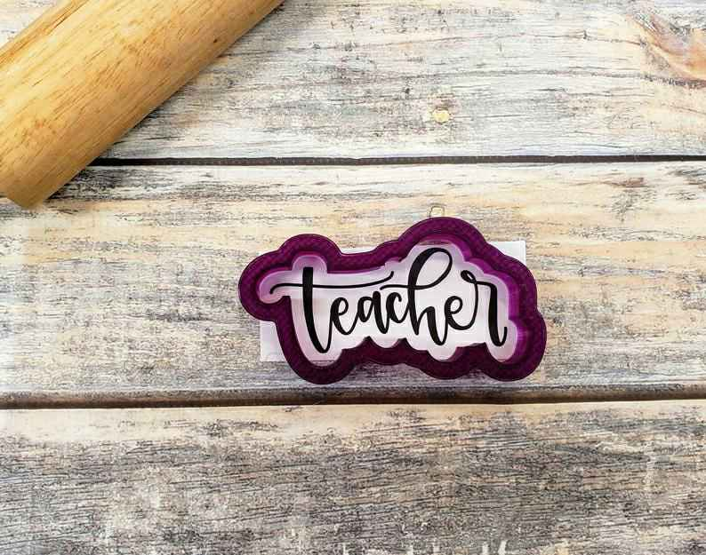 Teacher Hand Lettered Cookie Cutter and Fondant Cutter and Clay Cutter with Optional Stencil,                       letter cookie cutters, cursive letter cookie stamp, cursive letter fondant cutters, fancy letter cookie cutters, large letter cookie cutters, letter shaped cookie cutters, teardrop cookie cutter, cloud shaped cookie cutter, fire engine cookie cutter, mickey cutter, sugar belle cookie cutters, turkey cutter, number 3 cookie cutter, custom cookie cutters etsy,