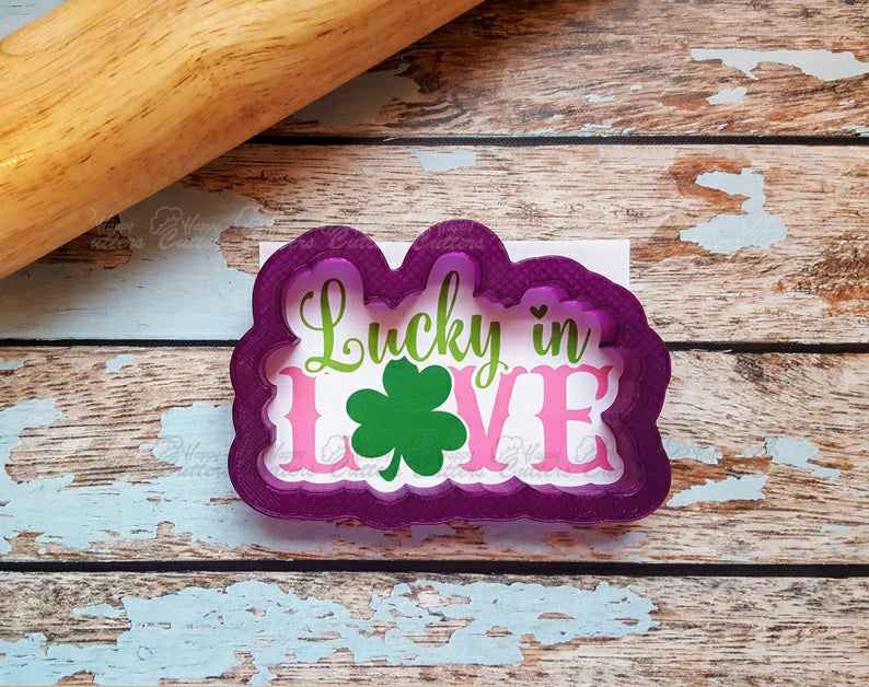 Lucky in Love Hand Lettered Cookie Cutter and Fondant Cutter and Clay Cutter with Optional Stencil,                       letter cookie cutters, cursive letter cookie stamp, cursive letter fondant cutters, fancy letter cookie cutters, large letter cookie cutters, letter shaped cookie cutters, darth vader cookie cutter, round cookie cutter kmart, ou cookie cutter, sleigh cookie cutter, biscuit rolling crimp cutter, western cookie cutters, truck with christmas tree cookie cutter, cutter set,