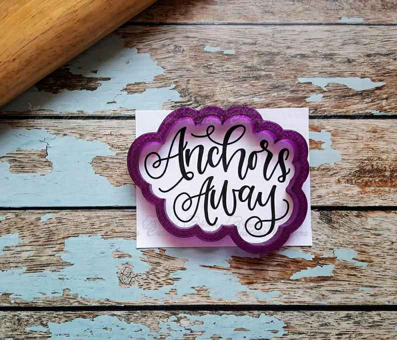 Anchors Away Hand Lettered Cookie Cutter and Fondant Cutter and Clay Cutter with Optional Stencil,                       letter cookie cutters, cursive letter cookie stamp, cursive letter fondant cutters, fancy letter cookie cutters, large letter cookie cutters, letter shaped cookie cutters, woodland animal cookie cutters, pitbull cookie cutter, gingerbread house cookie cutter set, weird cookie cutters, christening cookie cutters, skull cookie cutter michaels, fairy cookie cutter, basketball jersey cookie cutter,