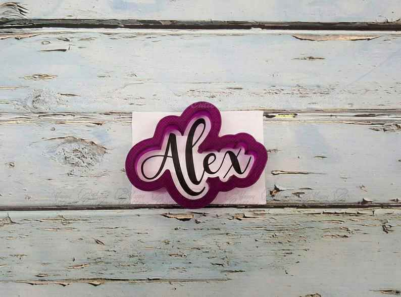 Alex Hand Lettered Cookie Cutter and Fondant Cutter and Clay Cutter with Optional Stencil,                       letter cookie cutters, cursive letter cookie stamp, cursive letter fondant cutters, fancy letter cookie cutters, large letter cookie cutters, letter shaped cookie cutters, bicycle cookie cutter, plastic shape cutters, unique christmas cookie cutters, cotton candy cookie cutter, small shape cutters, fondant letter cutters kmart, wilton copper cookie cutters, swaddled baby cookie cutter,