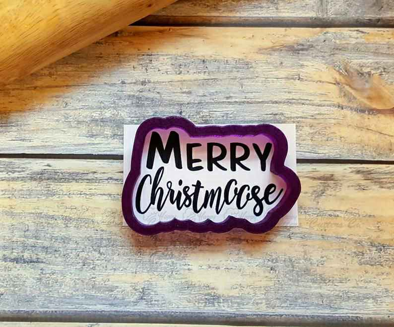 Merry Christmoose Hand Lettered Cookie Cutter and Fondant Cutter and Clay Cutter with Optional Stencil,                       letter cookie cutters, cursive letter cookie stamp, cursive letter fondant cutters, fancy letter cookie cutters, large letter cookie cutters, letter shaped cookie cutters, lipstick cookie cutter, pitbull cookie cutter, fox run cookie cutters, mario bros cookie cutters, heavy duty cookie cutters, viking cookie cutter, bat shaped cookie cutter, heart shape cutter,