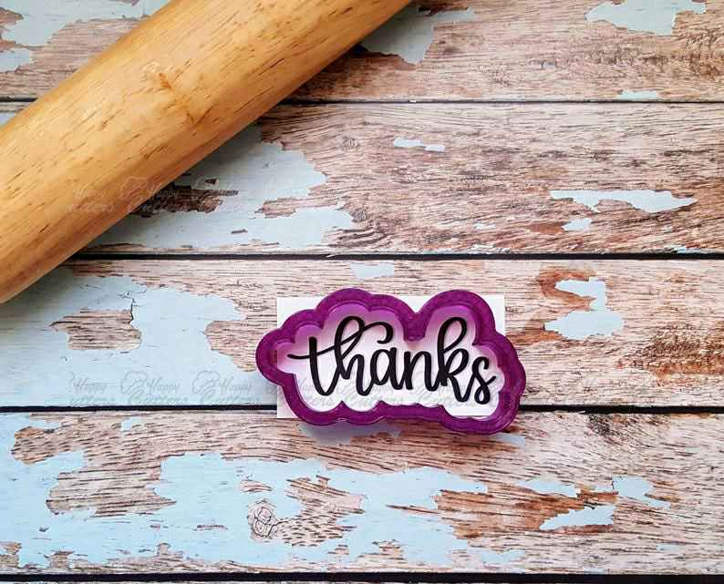 Thanks Hand Lettered Cookie Cutter and Fondant Cutter and Clay Cutter with Optional Stencil,                       letter cookie cutters, cursive letter cookie stamp, cursive letter fondant cutters, fancy letter cookie cutters, large letter cookie cutters, letter shaped cookie cutters, large dinosaur cookie cutters, mother's day cookie cutters, boot cookie cutter, fancy flours cookie cutters, small dog bone cookie cutter, bone shaped biscuit cutter, large gingerbread cookie cutter, mary poppins cookie cutter,