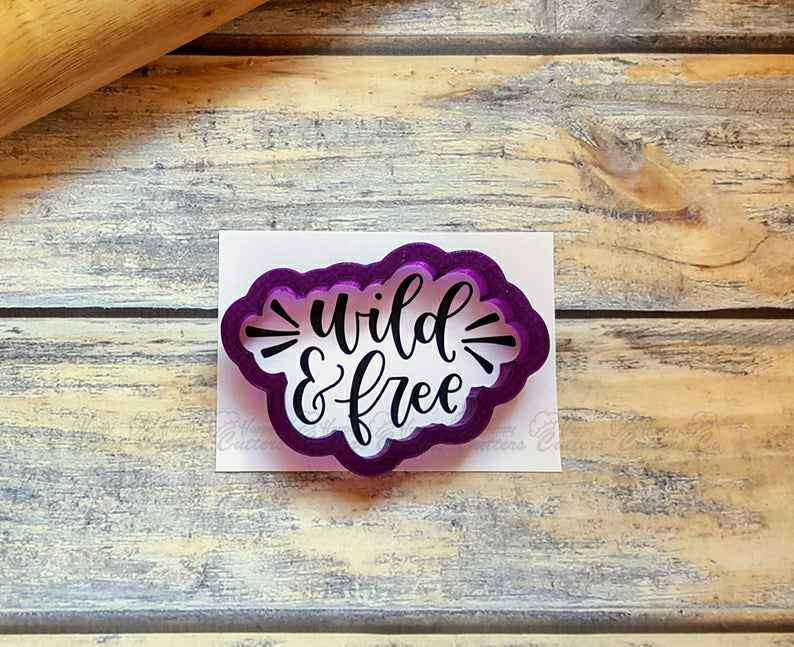 Wild & Free Hand Lettered Cookie Cutter and Fondant Cutter and Clay Cutter,                       letter cookie cutters, cursive letter cookie stamp, cursive letter fondant cutters, fancy letter cookie cutters, large letter cookie cutters, letter shaped cookie cutters, mickey and minnie cookie cutters, palm leaf cookie cutter, wilton unicorn cookie cutter, ghost cookie cutter, custom cookie cutters etsy, logo cutter, charlie brown cookie cutters, tardis cookie cutter,