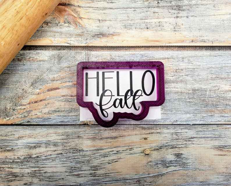 Hello Fall Hand Lettered Cookie Cutter and Fondant Cutter and Clay Cutter with Optional Stencil,                       letter cookie cutters, cursive letter cookie stamp, cursive letter fondant cutters, fancy letter cookie cutters, large letter cookie cutters, letter shaped cookie cutters, mini fall cookie cutters, cowboy boot cookie cutter michaels, summer cookie cutters, bowling pin cookie cutter, new year's cookie cutters, dog bone cookie cutter petco, tupperware cookie cutters, mermaid tail cookie cutter,