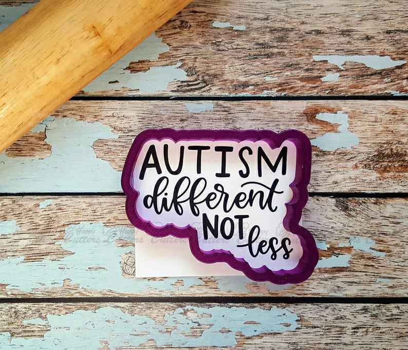 Autism Different Not Less Hand Lettered Cookie Cutter and Fondant Cutter and Clay Cutter with Optional Stencil,                       letter cookie cutters, cursive letter cookie stamp, cursive letter fondant cutters, fancy letter cookie cutters, large letter cookie cutters, letter shaped cookie cutters, bmw cookie cutter, cookiecutter python, meg cookie cutters, disney sandwich cutter, housewarming cookie cutters, mini pumpkin cookie cutter, witch hat cookie cutter, mini letter cookie cutters,