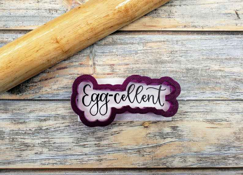 Egg-cellent (excellent) Hand Lettered Cookie Cutter and Fondant Cutter and Clay Cutter with Optional Stencil,                       letter cookie cutters, cursive letter cookie stamp, cursive letter fondant cutters, fancy letter cookie cutters, large letter cookie cutters, letter shaped cookie cutters, impression cookie cutters, bow cookie cutter, bass cookie cutter, dinosaur cookie cutters near me, baby romper cookie cutter, boy cookie cutter, puzzle piece cutter, mickey and minnie cookie cutters,