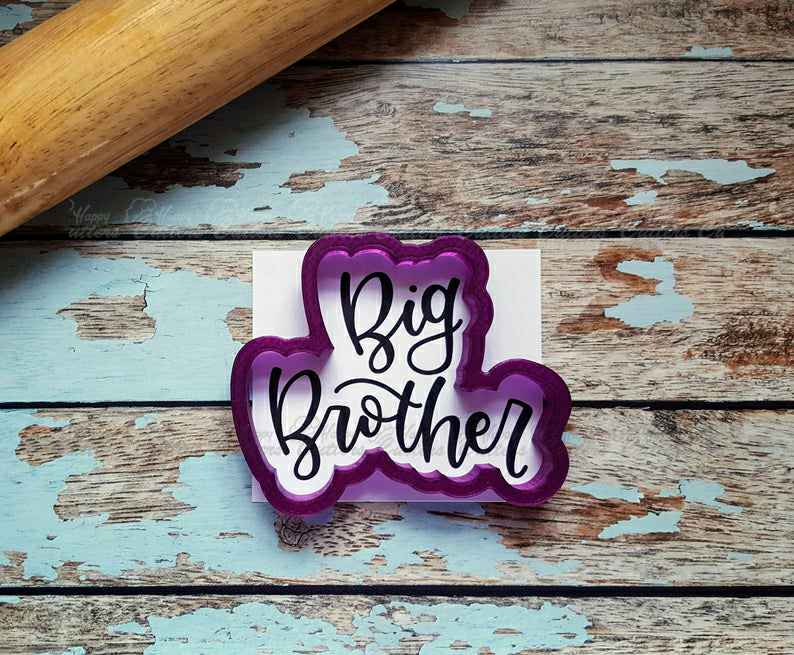 Big Brother Hand Lettered Cookie Cutter and Fondant Cutter and Clay Cutter with Optional Stencil,                       letter cookie cutters, cursive letter cookie stamp, cursive letter fondant cutters, fancy letter cookie cutters, large letter cookie cutters, letter shaped cookie cutters, anatomical heart cookie cutter, meri meri sausage dog cookie cutter, dinosaur footprint cookie cutter, 2 inch round cookie cutter, 3d cookie cutter shop, cookie cat cookie cutter, doc mcstuffins cookie cutters, western cookie cutters,