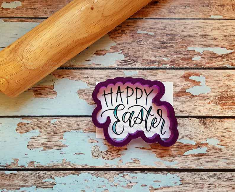 Happy Easter Hand Lettered Cookie Cutter and Fondant Cutter and Clay Cutter with Optional Stencil,                       letter cookie cutters, cursive letter cookie stamp, cursive letter fondant cutters, fancy letter cookie cutters, large letter cookie cutters, letter shaped cookie cutters, dinosaur foot cookie cutter, sweet sugarbelle halloween cookie cutters, gift tag cookie cutter, house cookie cutter, possum cookie cutter, cookie cutters poundland, 12 days of christmas cookie cutters, cookie cutter family,