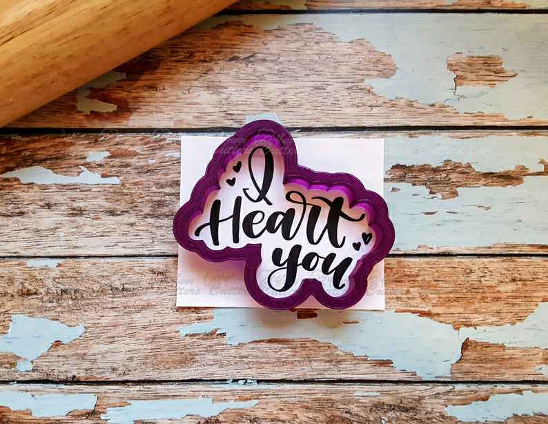 I Heart You Hand Lettered Cookie Cutter and Fondant Cutter and Clay Cutter with Optional Stencil,                       letter cookie cutters, cursive letter cookie stamp, cursive letter fondant cutters, fancy letter cookie cutters, large letter cookie cutters, letter shaped cookie cutters, cloud fondant cutter, tesla cookie cutter, owl cookie cutter, disney coco cookie cutters, gnome cookie cutter, pentagon cookie cutter, pineapple tart cutter, 4 inch round cutter,