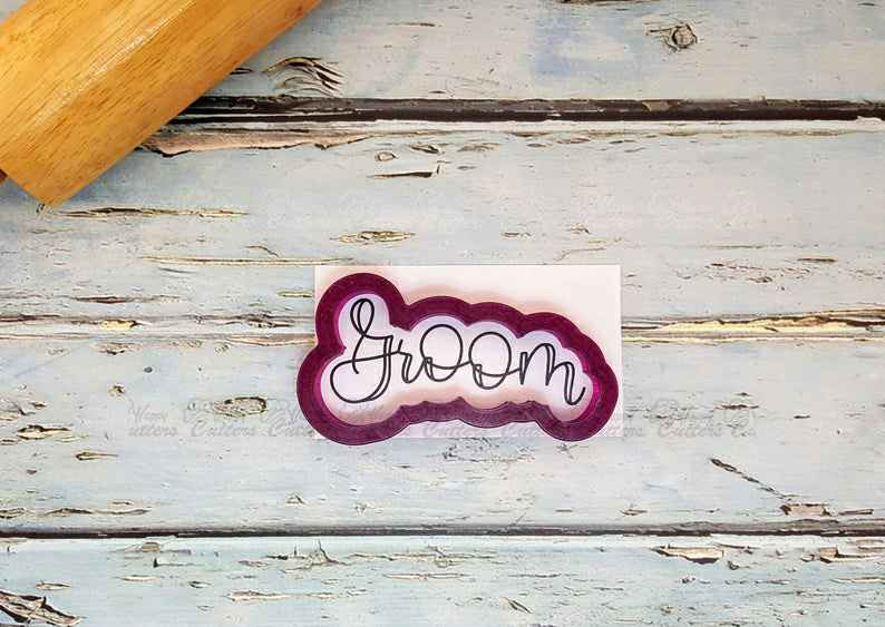 Groom Hand Lettered Cookie Cutter and Fondant Cutter and Clay Cutter with Optional Stencil,                       letter cookie cutters, cursive letter cookie stamp, cursive letter fondant cutters, fancy letter cookie cutters, large letter cookie cutters, letter shaped cookie cutters, plunger cookie cutters, star cookie cutter tesco, stainless steel cookie cutters, dog biscuit cutters uk, flame fondant cutter, sweetleigh printed cookie cutters, number 8 cookie cutter, marine corps cookie cutter,