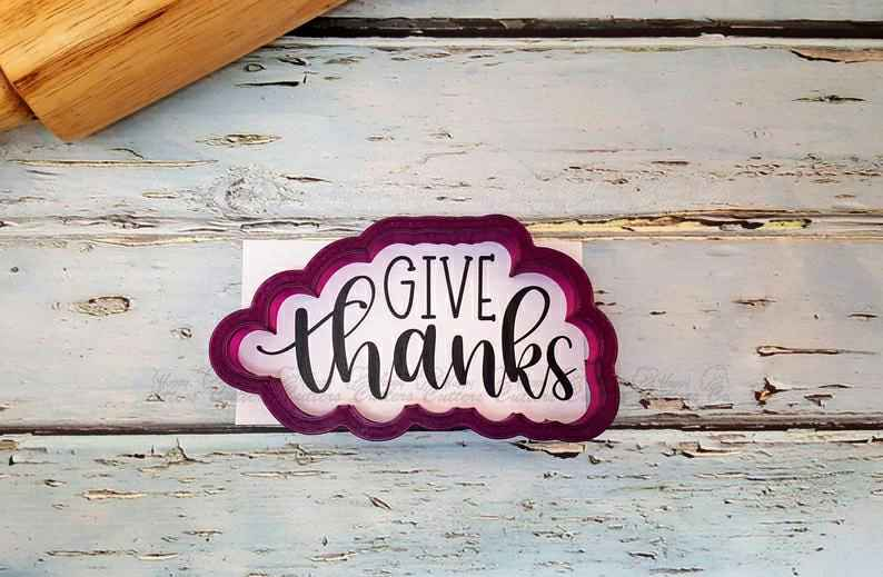 Give Thanks Hand Lettered Cookie Cutter and Fondant Cutter and Clay Cutter with Optional Stencil,                       letter cookie cutters, cursive letter cookie stamp, cursive letter fondant cutters, fancy letter cookie cutters, large letter cookie cutters, letter shaped cookie cutters, pizza cookie cutter, guitar cookie cutter, wilton cookie cutters walmart, 10 cookie cutter, metal alphabet cookie cutters, embossed cookie cutters, marvel cutters, victoria secret pink cookie cutters,