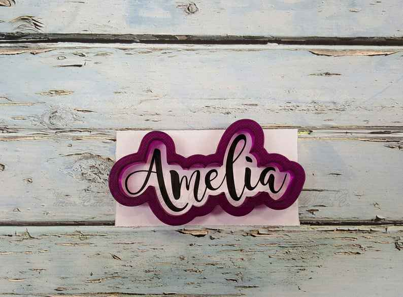 Amelia Hand Lettered Cookie Cutter and Fondant Cutter and Clay Cutter,                       letter cookie cutters, cursive letter cookie stamp, cursive letter fondant cutters, fancy letter cookie cutters, large letter cookie cutters, letter shaped cookie cutters, woodland cookie cutter set, baby shower biscuit cutters, 40 cookie cutter, santa face cookie cutter, round metal cookie cutters, iron man cookie cutter, small metal cookie cutters, once bitten cookie cutter,