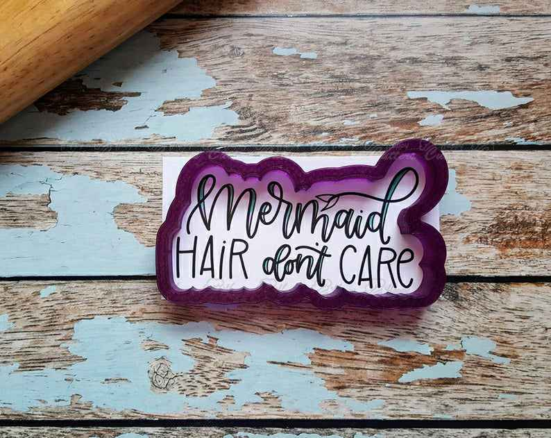 Mermaid Hair Don't Care Hand Lettered Cookie Cutter and Fondant Cutter and Clay Cutter with Optional Stencil,                       letter cookie cutters, cursive letter cookie stamp, cursive letter fondant cutters, fancy letter cookie cutters, large letter cookie cutters, letter shaped cookie cutters, diy cookie cutter, baby footprint cookie cutter, small easter cookie cutters, rocking horse cookie cutter, christmas cookie cutters big w, eiffel tower cookie cutter, mario brothers cookie cutters, cooky cutters,