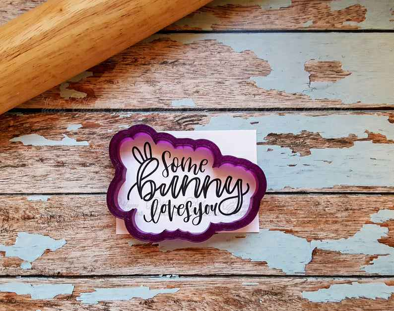 Some Bunny Loves You Hand Lettered Cookie Cutter and Fondant Cutter and Clay Cutter with Optional Stencil,                       letter cookie cutters, cursive letter cookie stamp, cursive letter fondant cutters, fancy letter cookie cutters, large letter cookie cutters, letter shaped cookie cutters, bobbies cookie cutters, pumpkin pie cookie cutter, gingerbread cookie cutter target, lightning cookie cutter, large alphabet cutters, baking shape cutters, shoe cookie cutter, st patrick's day cookie cutter,