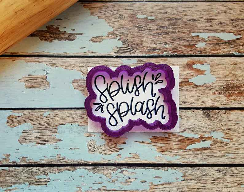 Splish Splash Hand Lettered Cookie Cutter and Fondant Cutter and Clay Cutter with Optional Stencil,                       letter cookie cutters, cursive letter cookie stamp, cursive letter fondant cutters, fancy letter cookie cutters, large letter cookie cutters, letter shaped cookie cutters, metal cookie cutters with handles, crazy cookie cutters, number 4 cookie cutter, kate spade cookie cutters, sports cookie cutters, fluted round cookie cutter, vintage christmas cookie cutters, mary poppins cookie cutter,