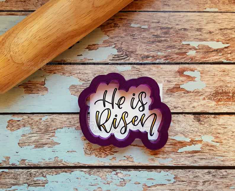 He is Risen Hand Lettered Cookie Cutter and Fondant Cutter and Clay Cutter with Optional Stencil,                       letter cookie cutters, cursive letter cookie stamp, cursive letter fondant cutters, fancy letter cookie cutters, large letter cookie cutters, letter shaped cookie cutters, b cookie cutter, poodle cookie cutter, large gingerbread cookie cutter, snoopy cookie cutter, marine corps cookie cutter, jhcookieco etsy, sailor moon cookie cutter, tooth shaped cookie cutter,