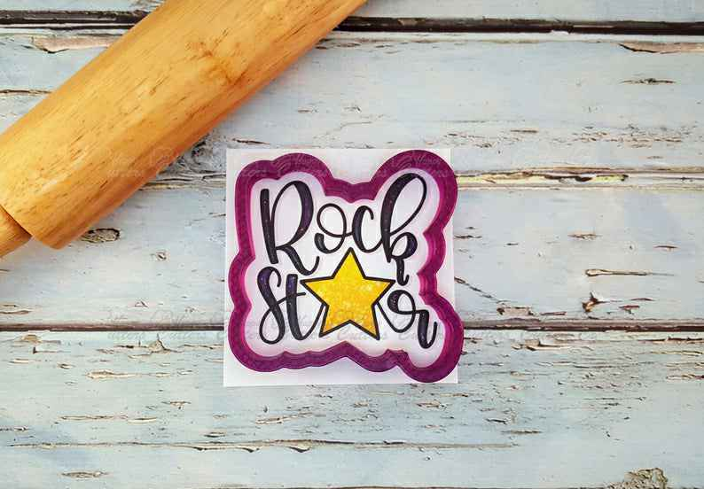 Rock Star Hand Lettered Cookie Cutter and Fondant Cutter and Clay Cutter With Optional Stencil,                       letter cookie cutters, cursive letter cookie stamp, cursive letter fondant cutters, fancy letter cookie cutters, large letter cookie cutters, letter shaped cookie cutters, paw print cookie stamp, animal shape cutters, elephant cookie cutter, jhcookieco etsy, baby shower cookie cutter set, 1.5 inch round cookie cutter, glasses cookie cutter, cheap cookie cutters canada,