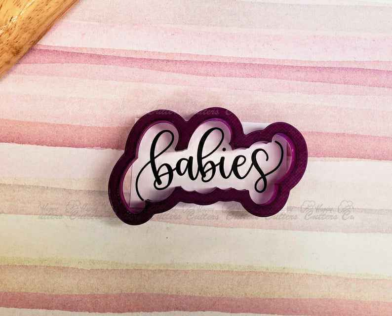 Babies Hand Lettered Cookie Cutter and Fondant Cutter and Clay Cutter with Optional Stencil,                       letter cookie cutters, cursive letter cookie stamp, cursive letter fondant cutters, fancy letter cookie cutters, large letter cookie cutters, letter shaped cookie cutters, flame fondant cutter, snowflake cookie cutter, sloth cookie cutter, mini leaf cookie cutter, scooby doo cookie cutter, arrow cookie cutter, miniature cookie cutters, pink ribbon cookie cutter,
