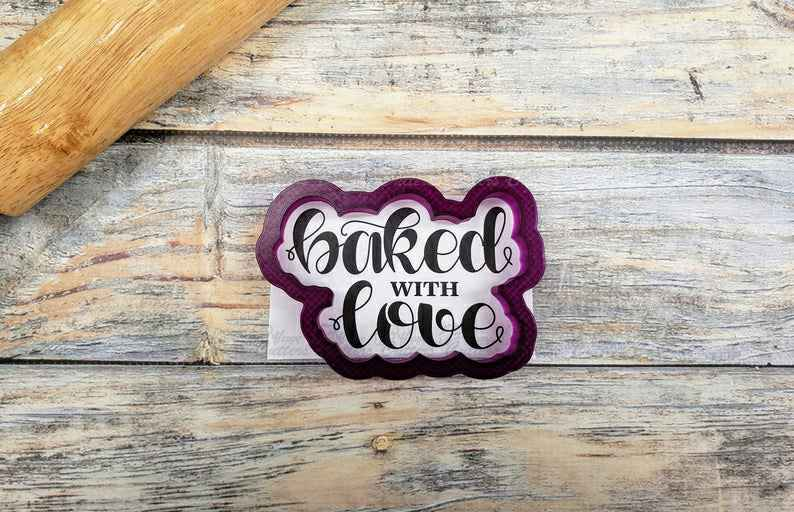 Baked with Love Hand Lettered Cookie Cutter and Fondant Cutter and Clay Cutter with Optional Stencil,                       letter cookie cutters, cursive letter cookie stamp, cursive letter fondant cutters, fancy letter cookie cutters, large letter cookie cutters, letter shaped cookie cutters, toy story cutters, possum cookie cutter, dog themed cookie cutters, hearth and hand cookie cutter, thomas the train cookie cutter, ice cream truck cookie cutter, dinosaur cookie cutters sainsburys, space themed cookie cutters,