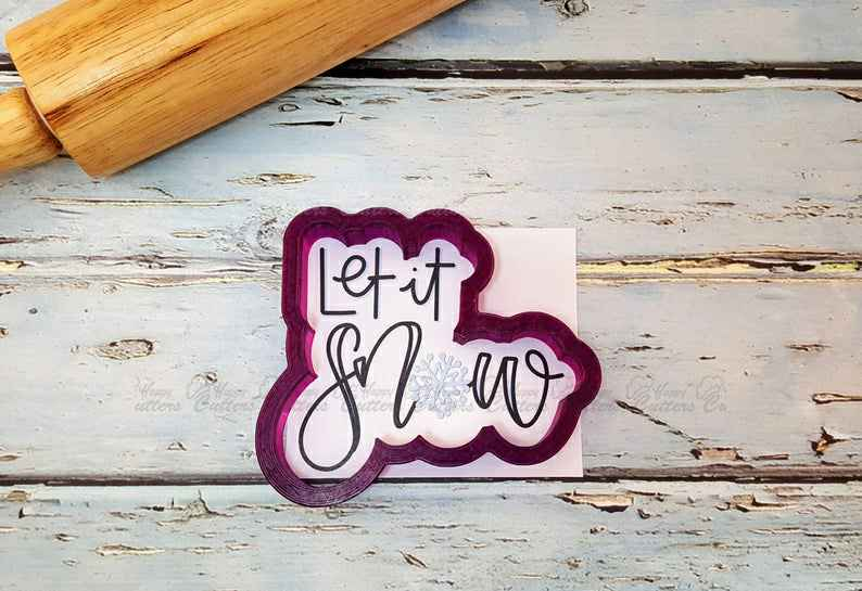 Let it Snow Hand Lettered Cookie Cutter and Fondant Cutter and Clay Cutter with Optional Stencil,                       letter cookie cutters, cursive letter cookie stamp, cursive letter fondant cutters, fancy letter cookie cutters, large letter cookie cutters, letter shaped cookie cutters, footprint cookie cutter, sweetleigh printed cookie cutters, breast cancer cookie cutter, crown cookie cutter, gingerbread christmas tree cookie cutter set, martini glass cookie cutter, dinosaur shaped cookie cutters, stainless steel biscuit cutter,